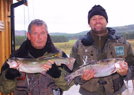 Father & Son, Robbie & Kevin Robson, with rainbows of 4lb 4oz and 5lb 1oz on yellow & olive bloodworms