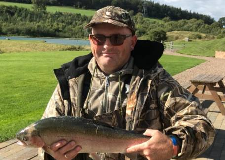 Garry Clarke from Consett with a Magnificent 6lb 2oz Rainbow from Coe Crag