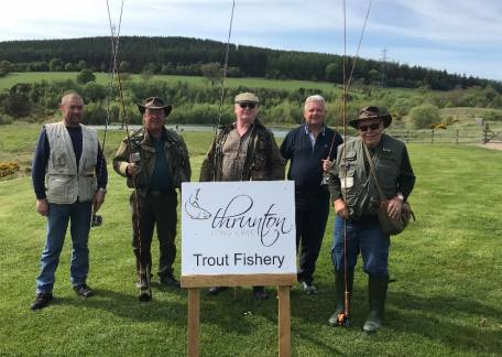 Members of the BIFFC fly fishers who enjoyed their visit to Thrunton