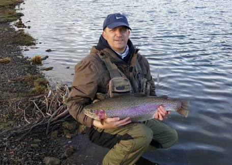 Darren Frame from Newcastle landed this 16lb rainbow on his first cast on a 'chris Evans' worm