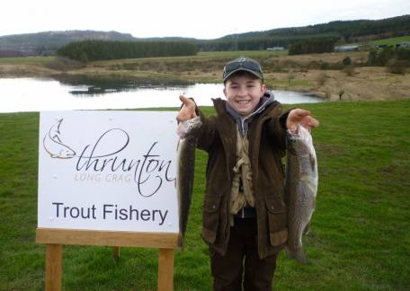 9 year old Ryan Foggon with his frts 2 fish after finishing second in the Junior fish-off