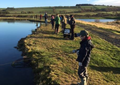Some of the Thrunton Juniors practising their angling skills during a session with Howard Croston. Thanks Howard