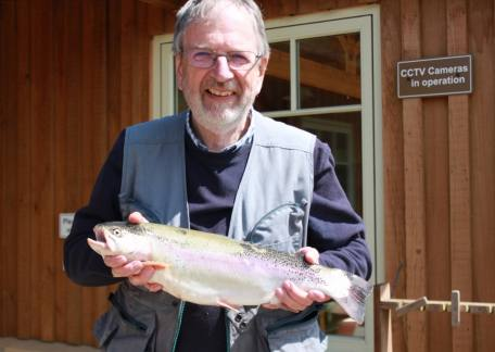 Geoff Morgan landed this 4lb 2oz rainbow from Long Crag lake on a black buzzer