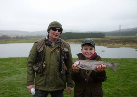 9 year Ryan Foggon from Longhorsley was delighted to land another trout during a lesson with Steve McCann