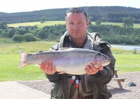 Adam Calvin, winner of the Cramlington  Renegades friendly competition with this 7lb 2oz rainbow on a PTN