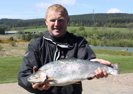 Tony Irving from Shaperton used a montana nymph to land this 4lb 12oz rainbow from Long Crag