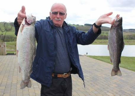 Alan Robinson from Swalwell with 2 fish for 8lb 5oz on a gold humungus