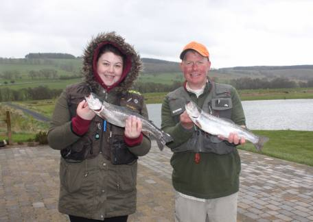 Father and daughter Tony and Lauren Rowley who both enjoyed their morning with Lauren releasing a 10lb 8oz rainbow
