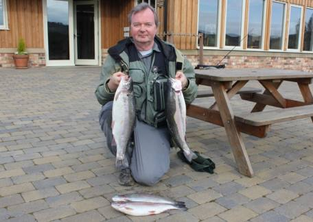 David Dodds from Ashington with his 4 fish bag of 14lb 9oz  attracted on dries and a sedge