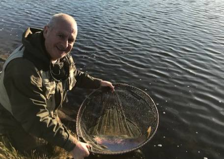 Matty Devine from Hadston, with a cracking 10lb Rainbow caught on Long Crag.