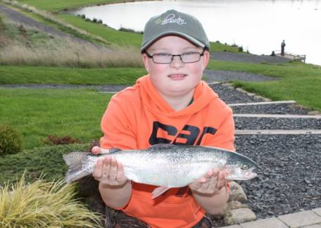 Adam Straughan delighted with this fish to win the Junior pairs compettion with partner Joe Dewhirst