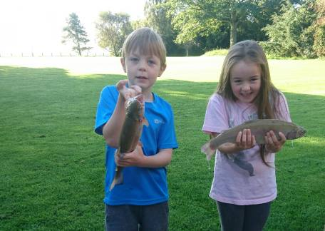 7 year old twins Edward & Amy from Titlington who both caught fish in a recent session.