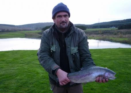 Matty Viethen from LadyKirk landed his personal best rainbow, 5lb 10oz, on his first visit to Thrunton