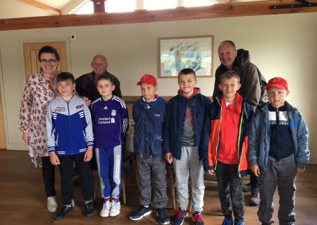 Some children from the Chernobyl Childrens Lifeline charity who enjoyed their first attempt at Fly fishing