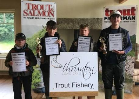The top 4 anglers from the final. Names from left to right - Ethan Welsh, Charlie Southworth, Sam shepherd, Lee Gilruth