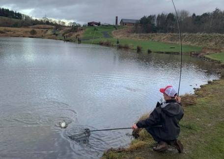 Harrison Douds netting one of his eight fish of the session.