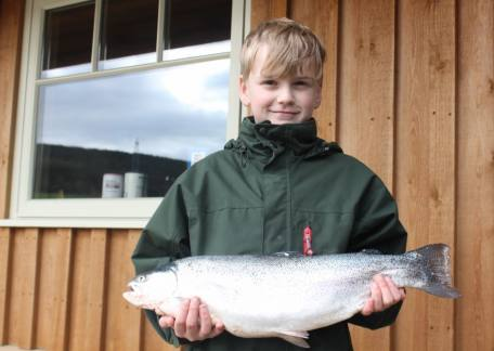 10 year old Haydn Lee from Amble netted this 5lb 8oz rainbow from Coe Crag on a size 16 PTN
