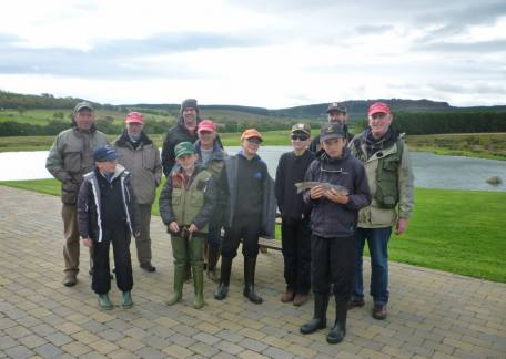 Members of the Morpeth Chantry School Trout Ticklers with their coaches