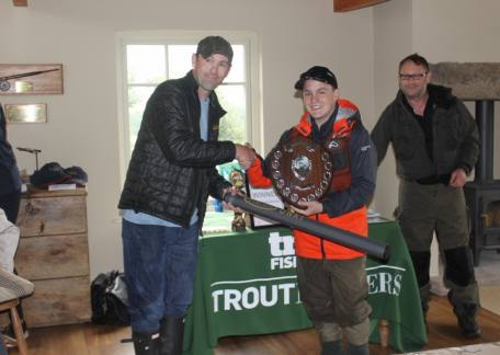 Morgan Wyn Jones - the Uk Troutmaster champion with Fred Bainbridge from Sponsors Vision