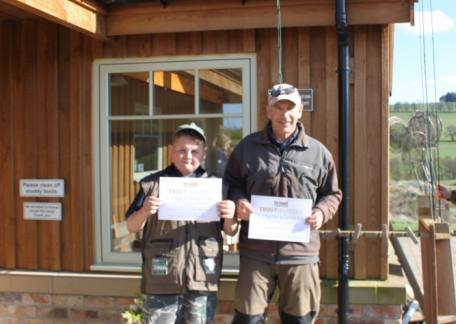 Trevor Wadds and Jack Metcalf who were winners of the Senior and Junior Troutmasters fish off