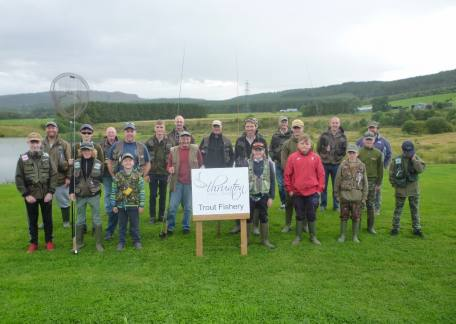 Thrunton Junior anglers with their partners before the end of season Pairs competition