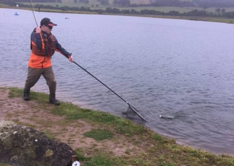 Morgan Wyn Jones  - the Uk Junior Troutmaster winner in action