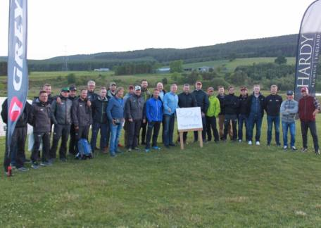 The Northern European sales team of Pure Fishing who held a competition and barbeque at Thrunton this week