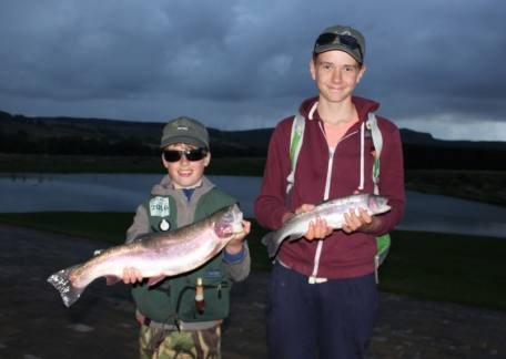 Thrunton Juniors Joel Ellis and Max Harrison both with fish landed during an evening session after school