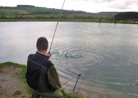 Dick Taylor from Alnwick about to land his first fish. He went on to win the NN Hospice fundraiser