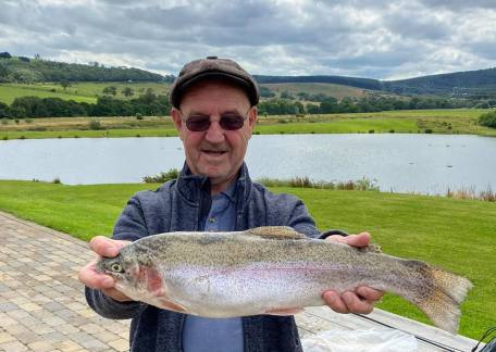Alan Jarvis from Prudhoe with a Rainbow caught on Long Crag