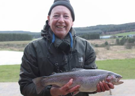 Steve Dargon from Newcastle kept 4 fish for 15lb including this 4lb rainbow on a black bunny leech