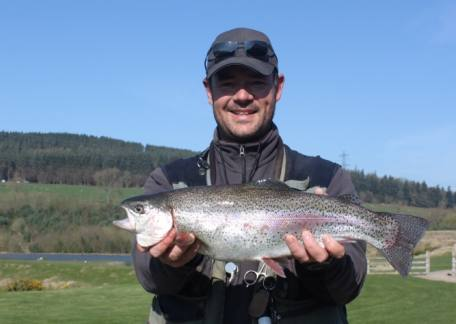 Anthony Meadows from Chopwell with his heaviest fish, a 4lb 14oz rainbow landed on a damsel