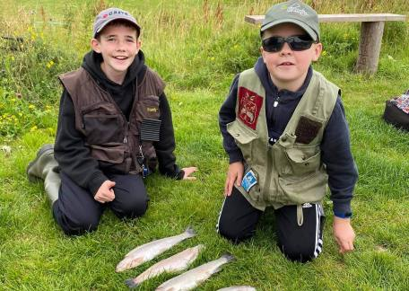 Ryan & Michael Humble with their catches from Crag End Bait Lake