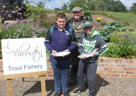 Two of the pupils from Tanfield School who landed fish during their session with Len Broxson