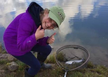 A young Trout Tickler very pleased to catch and safely release this fish from Coe Crag