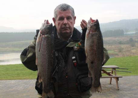 Robbie Robson from Brunswick with 2 trout at 4lb 6oz  & 4lb 11oz on yellow bloodworm