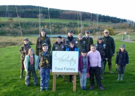 Thrunton Juniors before a Fly Fishing masterclass with Howard Croston