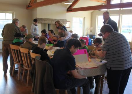 Juniors during a fly tying morning with Paul Griffin