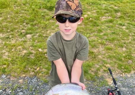 4 year old, Max Dixon with his first ever Trout caught at Thrunton