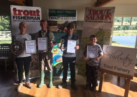 The top 4 from the UK Junior Troutmasters final - Harrison, Elliot, Michael and James