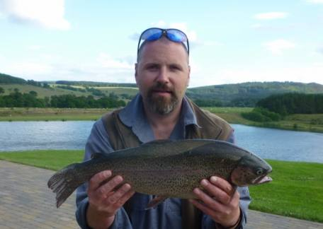 Cameron Graham from Morpeth netted this 5lb rainbow from Long Crag lake on a black buzzer