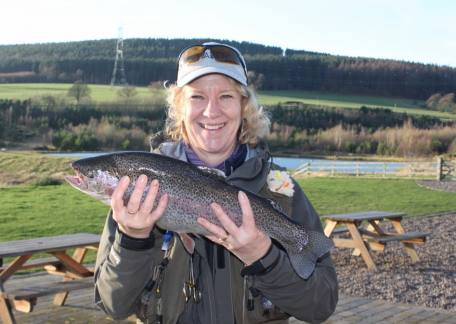 Jane Johnston from Marley Hill was delighted to achieve her personal best with this 4lb 8oz rainbow on a bibio