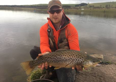 Ross Dixon was delighted to net this 10lb brownie during the Troutmasters fish off