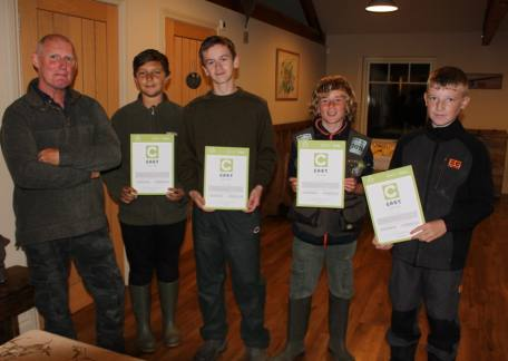 Shaun, Joseph, Matty and Jay who all received their Angling Trust Level 3 Awards with Steve McCann