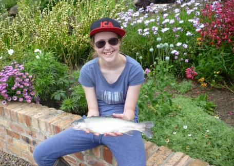 Sarah Moulding from Glendale School delighted with her fish laded on a bibio hopper