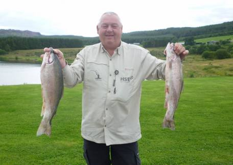 Alec Harvey from Cramlington  with 2 4lb trout. Alec finished 3rd in the Hoy 'N' Hope competition