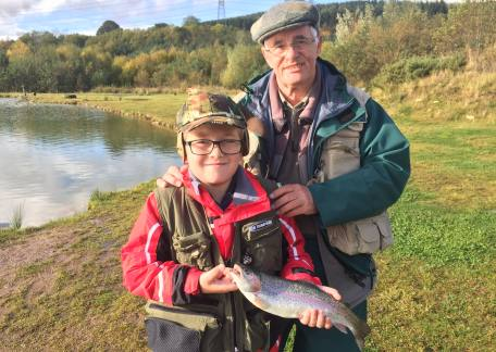 Young Thomas was pleased to land this trout during a lesson with Bob Smith (www.bobsmithflyfishing.co.uk)