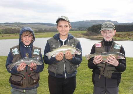 Successful Thrunton Junior anglers after an Angling Trust CAST award session with Coach Steve McCann