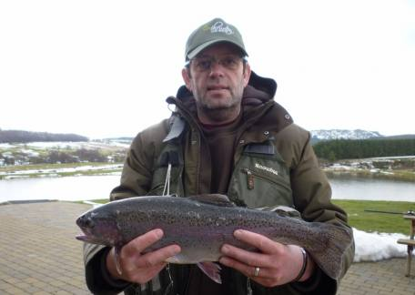 Phil Stone from Chester-le-Street landed this 4lb 8oz rainbow from Long Crag on an orange bloodworm