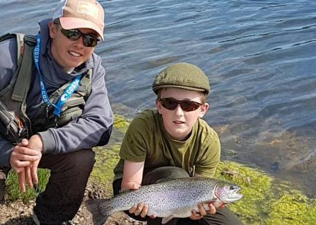 13 year old Kye Todd from Cramlington was delighted to catch his first fish on a fly with Elliot Guthrie
